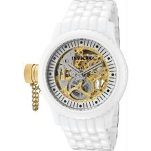 Women's White Ceramic Russian Diver Gold Tone Skeleton