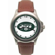 York Jets Mens Leather Rookie Watch