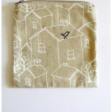 zipper pouch, purse. blue bird and creeping vine embroidery with white houses on taupe sustainable linen cotton blend