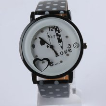 7 Color Fashion Women Girl's Children Leather Crystal Love Quartz Wrist Watch