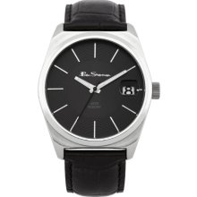 Ben Sherman Men's Quartz Watch With Black Dial Analogue Display And Black Leather Strap R954