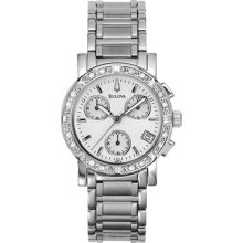 Bulova 96r19 16 Diamond Chronograph Date White Mop Dial Womens Wrist Watch