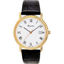 Bulova Mens Leather Strap Watch - Gold Tone - White Dial - Date 97B13