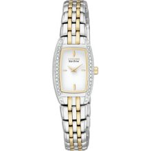 Citizen Eco-Drive Silhouette Crystal Ladies Two Tone Stainless Steel Watch