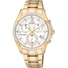Citizen Ladies Eco-Drive Gold Tone Stainless Steel Case and Bracelet White Dial Chronograph Diamond Accented Bezel FB1253-54A