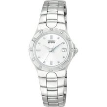 Citizen Silver Ladies Eco Drive Corso Stainless Steel Bracelet with 12 Diamond Bezel
