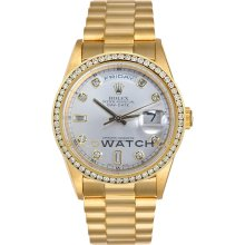 Day Date 18038 Yellow Gold President Silver Diamond Dial & Bezel