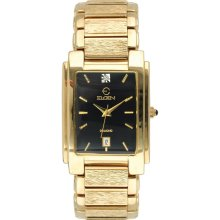 Elgin Mens Black Dial Gold Tone Rectangle Case Watch - M Z BERGER &