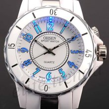 Fashion 7 Color Flashlight Mens Lady Quartz Sport Analog Watch Gift