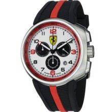 Ferrari Men s Fast Lap Swiss Made Quartz Chronograph Black Rubber Strap Watch BLACK