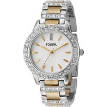 Fossil Fossil Ladies 3-Hand Stainless Steel Dual Toned Glitz Watch Silver