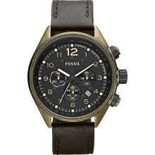 Fossil Mens Flight Chronograph Antique Stainless Watch - Black Leather Strap - Black Dial - CH2783