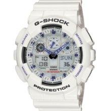 G-Shock Watch, Mens Analog Digital White Resin Strap GA100A-7A