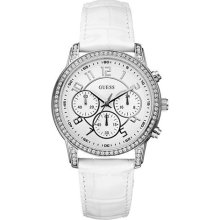 GUESS Chronograph White Leather Ladies Watch U13602L1