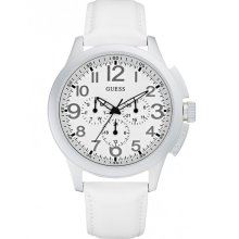 GUESS New Mens Round White Leather Strap Steel Watch Ladies Oversized W11585G2 - White - Leather