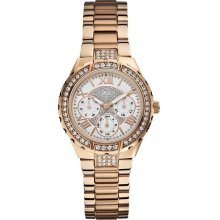 Guess U0111L3 White Dial Rose Gold-Tone Stainless Steel Women's Watch