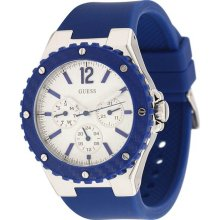 Guess U10657L3 White Dial Blue Silicone Strap Men's Watch