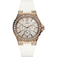 Guess White Rubber Band Rose Gold Tone Crystal Bezel Womens Watch U16529l1