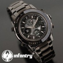 Infantry Pilot Mens Lcd Chronograph Army Quartz Watch Stainless Steel Waterproof