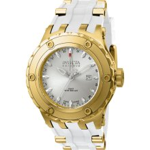 Invicta Men's 12038 Subaqua Reserve GMT Silver Dial White Rubber