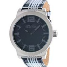 Kenneth Cole Mens Reaction Street Collection Analog Stainless Watch - Multicolor Leather Strap - Black Dial - RK1286
