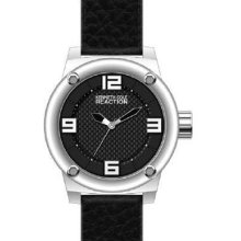 Kenneth Cole Mens Reaction Analog Stainless Watch - Black Leather Strap - Black Dial - RK1312