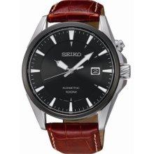 Kinetic Stainless Steel Case Leather Bracelet Black Dial Date Display
