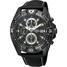 Lorus By Seiko Black Chronograph Dial Black Leather Strap Gents Watch Rf853cx9