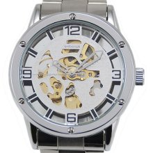 Luxury Sport Iron S/steel Skeleton Hour Automatic Mechanical Men Cuff Watch Gift
