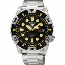 Men`s Seiko 5 Sports Automatic Watch W/ Black Dial & Yellow Bezel