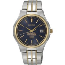 Men`s Seiko Solar Watch W/ Blue Dial & Two-tone Stainless Steel Bracelet