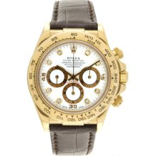 Men's 18k Yellow Gold Used Rolex Cosmograph Daytona Watch 16518 White