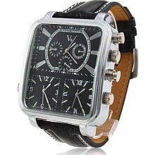 Men's 3-PC Quartz Wrist Sports Watch with Black Leather Band