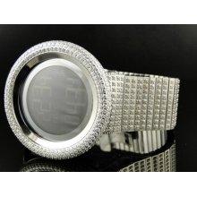 Mens 52mm Bezel I Gucci Digital White Genuine Diamond Watch 7 Ct