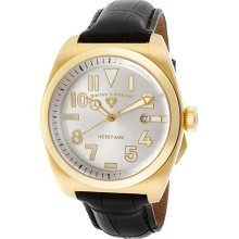 Men's Heritage Silver Dial Gold Tone IP Case Black Genuine Leathe ...