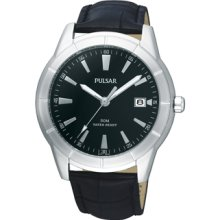 Mens Pulsar Stainless Steel Black Dial Watch with Black Leather Band