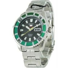 Men's Stainless Steel Seiko 5 Sports Automatic Black Dial Day Date