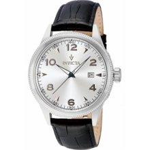 Men's Vintage Stainless Steel Case Leather Bracelet Silver Tone Dial D