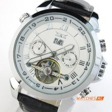 Mens White Dial Automatic Mechanical Date Day Black Leather Band Calendar Watch