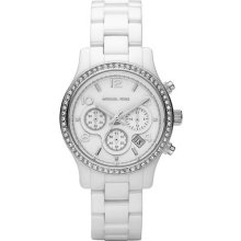 Michael Kors Ladies Ceramic Case and Bracelet White Dial Chronograph Date Display MK5469