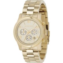Michael Kors Ladies Gold Tone Stainless Steel Quartz Chronograph Link Bracelet MK5055