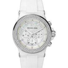 Michael Kors Mk5392 White Glitz Ceramic Chronograph Rubber Strap Womens Watch