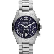 Michael Kors Watch Men's Layton Silver Chronograph Blue Dial Mk8228