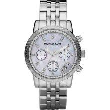 Michael Kors Women's Silvertone Mother Of Pearl Dial Watch MK5020