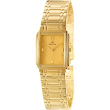 New BULOVA Mens Analog Rectangular Quartz Wrist Watch Gold-Tone Bracelet