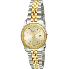 New Ladies BULOVA Analog Round Quartz Wrist Watch Two-Tone Steel Bracelet