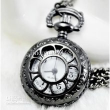 New Lead Black Small Sunflower Pocket Watch Fashion Necklace Sweater