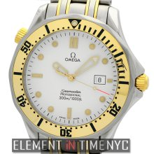 Omega Seamaster 300 M Quartz Steel & 18k Yellow Gold White Dial