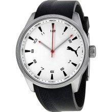 Puma Indicator White Dial Black Silicone Unisex Watch PU102601003