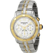 Raymond Weil Parsifal Automatic White Dial 18kt Yellow Stainless Steel Gold Mens Watch 7240-STG-00308